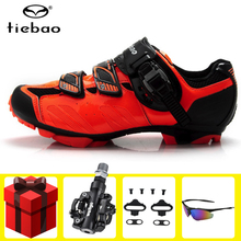 цена на Tiebao Cycling Shoes SPD pedals Professional MTB Mountain Bike Athletic Bike Shoes Self-Locking Riding Bicycle Shoes Sneakers