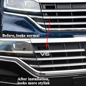 Image 2 - 1pc SEEYULE Customized Car Front Grille V6 Emblem Grill decoration ABS Silver Sticker accessories for VW Volkswagen Touareg 2019