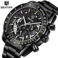 BENYAR Marke Luxus Männliche Uhr Military Quarz Sport Armbanduhr Männer Chronograph Wasserdichte Herren Uhren Sport Armbanduhr-in Quarz-Uhren aus Uhren bei