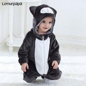 Image 4 - Baby Romper Charmmy kostium kota chłopiec dziewczyna Kawaii Onesie zamek z kapturem kreskówka zwierzęta noworodka maluch ubrania ciepłe miękkie