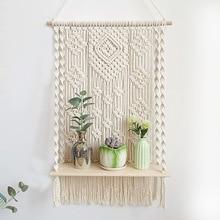 Macrame Hanging Planter Basket Plant Shelf Wall Handmade Bohemian Tassel Tapestry Plant Hanger Home Living Room Decoration