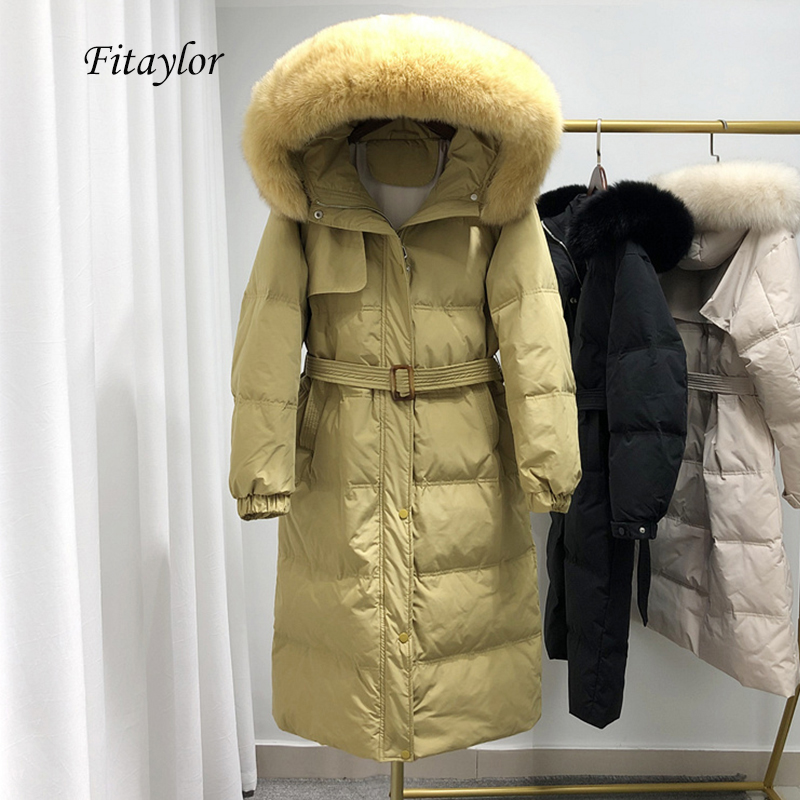 Fitaylor Winter Large Real Fox Fur Long Down Jacket Women White Duck Down Loose Hooded Parka Single Breasted Overcoat With Belt