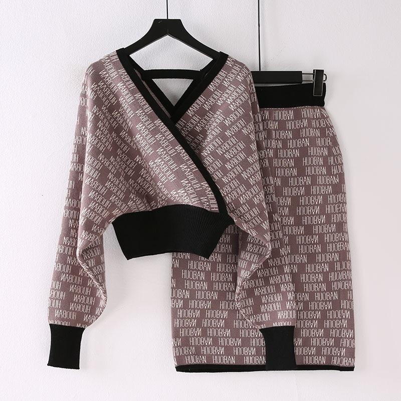 Ozhouzhan 2019 New Style Autumn Clothing V-neck Elegant Set WOMEN'S Knit Sweater + Skirt Graceful Knitted Dress Outfit Fashion