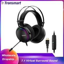 الأصلي Tronsmart Glary السلكية سماعة الألعاب 7.1 مع RGB ضوء USB ل xbox one/PS4/pc/الكمبيوتر مع ميكروفون سماعات رأس gamer
