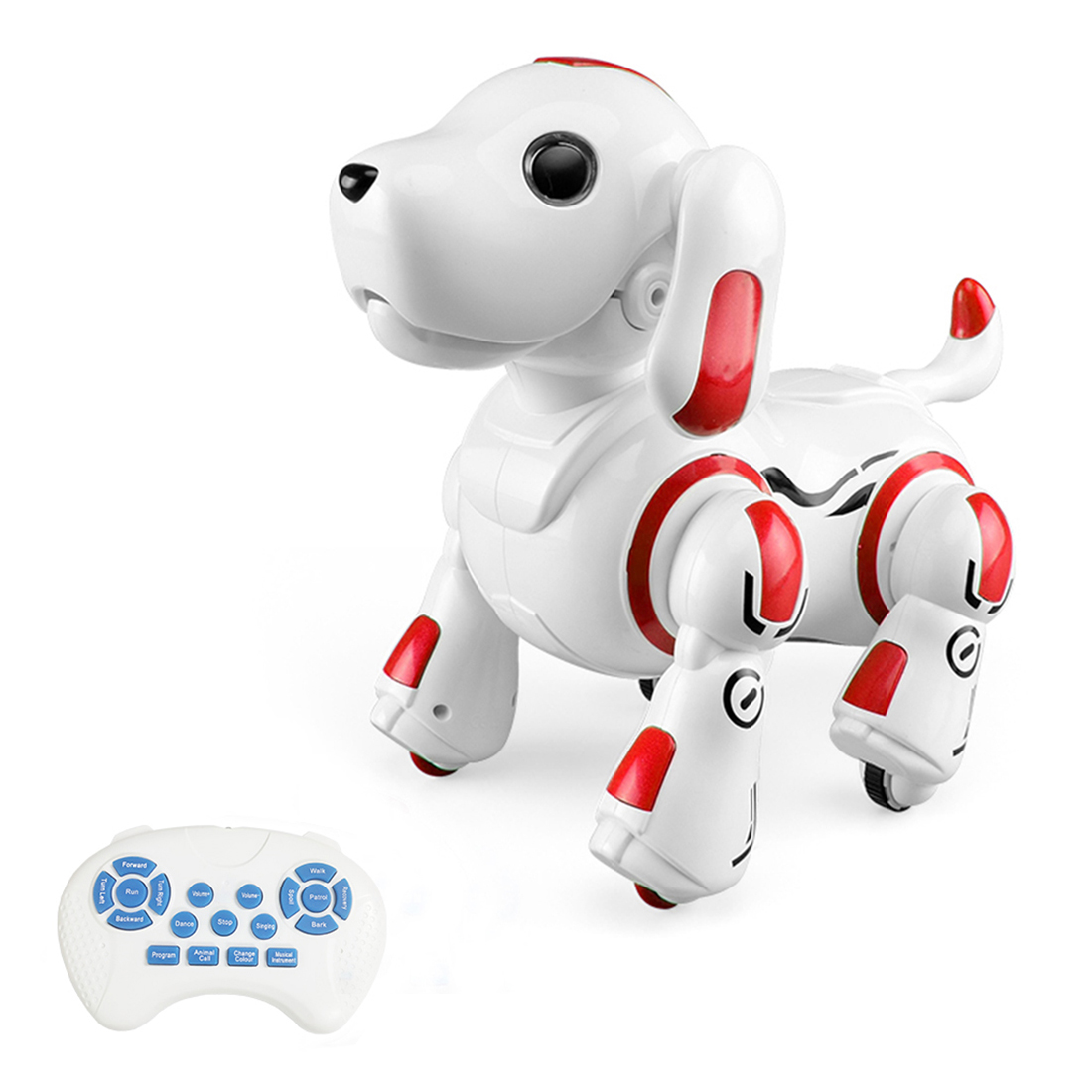 Remote Control Programming Robot Dog Robotic Pet Dog Smart Robot Puppy For Children Educational Toys Gift - Glock Gen.2 Red/Blue
