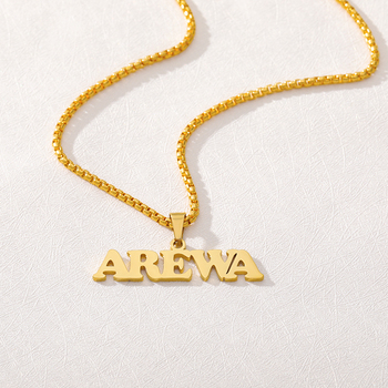 Customized Fashion Stainless Steel Name Necklace on neck Personalized Letter Pendant Gold Choker Necklaces Men Nameplate Gift customized women jewelry fashion stainless steel name necklace personalized letter gold choker necklace pendant nameplate gift