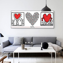 Creative synthesis Stick figure Heart Shaped Picture Decorate the room picture Canvas painting Living room decoration map