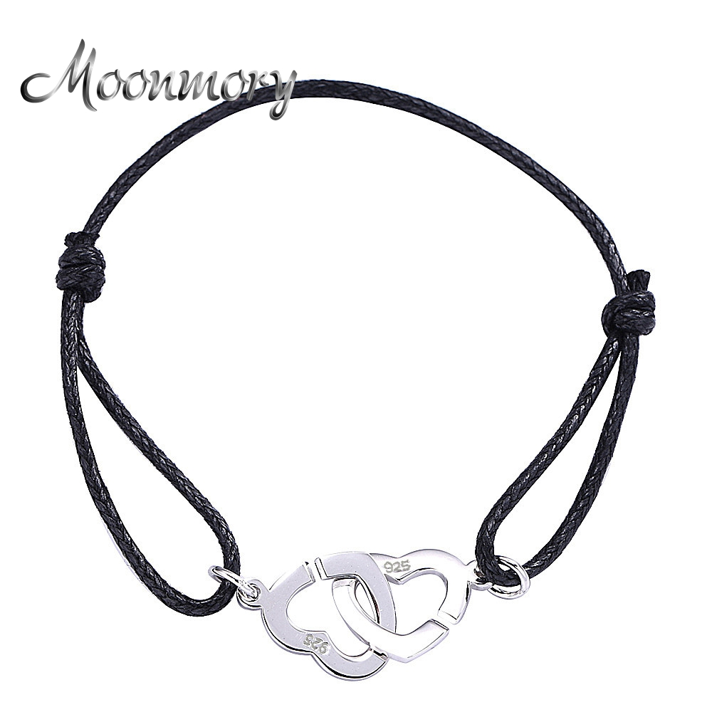 Moonmory Heart Shaped 925 Sterling Silver Double Coeurs Bracelet For Women And Men With Black Rope Adjust Bracelet Wholesale
