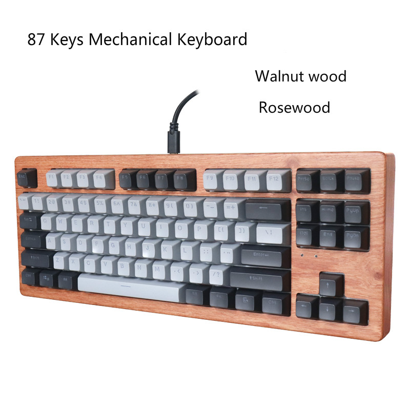 <font><b>87</b></font> Keys Wooden Case Mechanical <font><b>Keyboard</b></font> Cherry RGB Switches Brown Blue Red Switches Walnut wood Cases Rosewood Case image