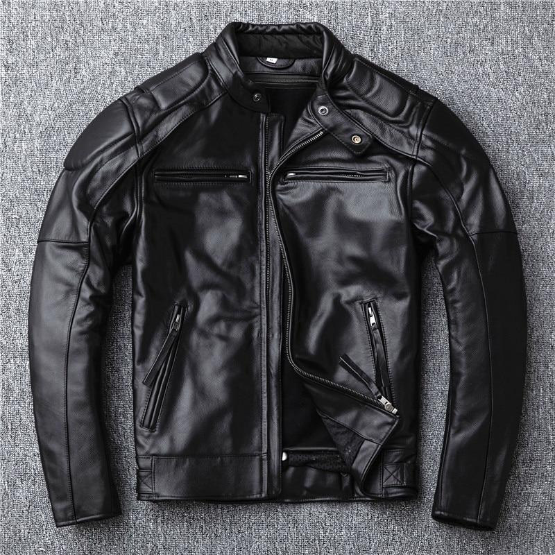 2020 Free Shipping.sales.Brand Motor Style Leather Jacket Men.winter Warm Black Genuine Cow Hide Coat.classic Biker Skull Jacket