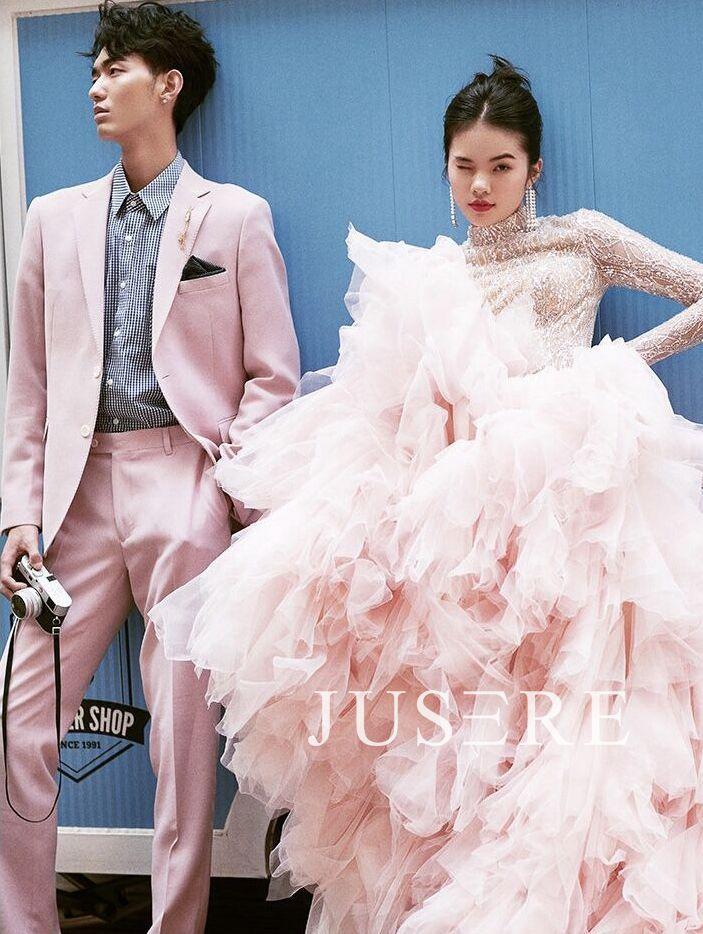 Vestido rosa vestido de baile de cuello alto de manga larga lentejuelas en cascada con volantes espalda completa de barrido vestido de noche vestido de Graduación - 5