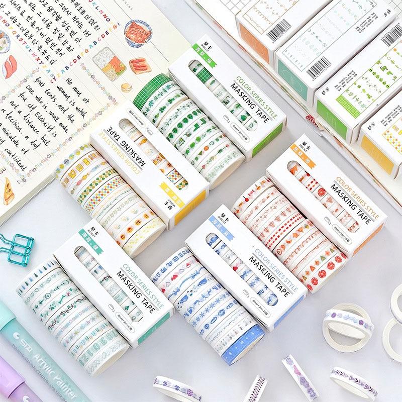 10 Pcs/lot Washi Tape Set Multi-color DIY Masking Tape Journal Supplies Scrapbooking Paper Stationary Stickers Decorative Tape