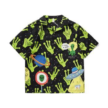 Hot Fashion Summer Men Alien Print Turn-Down Collar Loose Short Sleeve Shirt Blouse 2020 New Arrivals