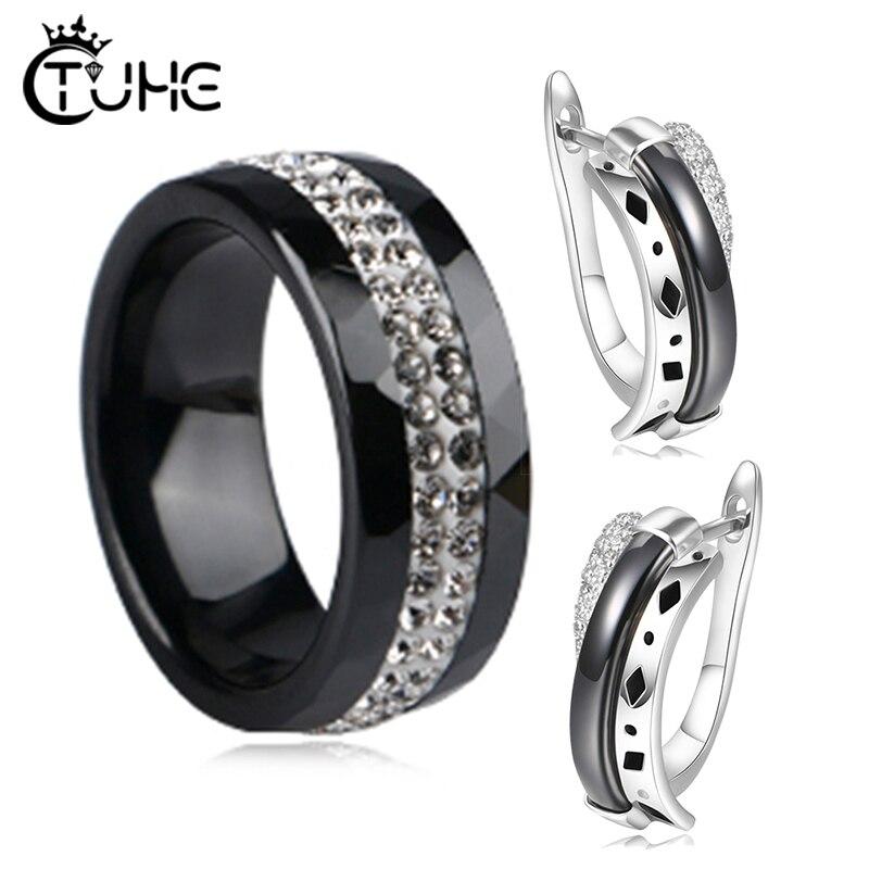 8mm Width Ceramic Rings Stud Earrings Jewelry Sets Healthy Ceramic Earrings/Ring Wedding Jewelry for Women Gift