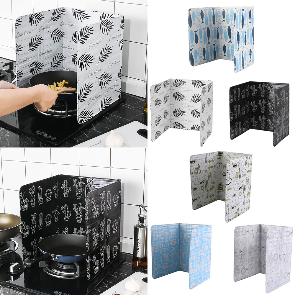 1PCs Home Kitchen Cooking Oil Splatter Screens Aluminium Foil Plate Gas Stove Anti Splash Baffle Frying Cooking Oilproof Tools|Racks & Holders|   - AliExpress