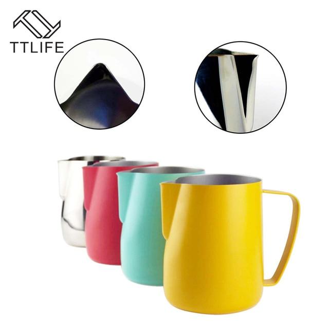 Jarra de leche TTLIFE de 0,3 a 0,6 l, jarro de espuma de acero inoxidable, jarro de espuma con forma de flor, Espumador de café y leche, herramienta artística para leche, cafetera de gomaespuma