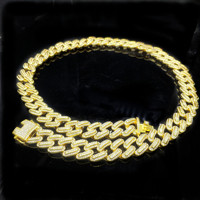 Customied Size 20/24/28/inch iced out Cuban link Necklace trendy unisex Hip Hop Big Gold Chain Jewelry