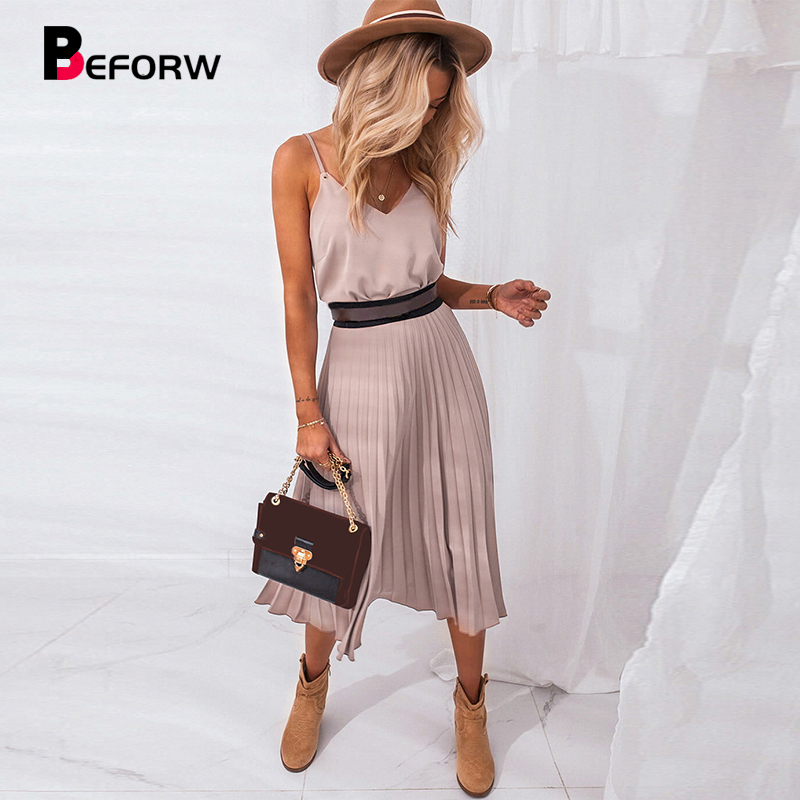 BEFORW 2020 Women Summer Sexy V-Neck Party Dress Elegant Spaghetti Strap Female Pleated Office Dresses Female Pink Midi Dress