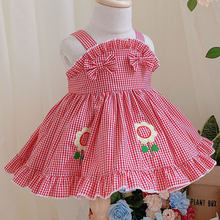 summer Plaid Girls Lolita Princess Tutu Party Gown Birthday Dress Fashion flower embroidered sleeveless Baby Children dress flower embroidered sleeveless maxi dress