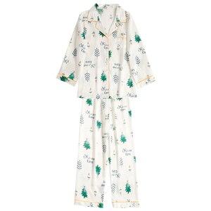 Image 4 - JRMISSLI Conjunto de Pijama con estampado de flamenco para Mujer, ropa de dormir para el hogar de satén, elegante, de seda, a la moda, para Primavera, 2019