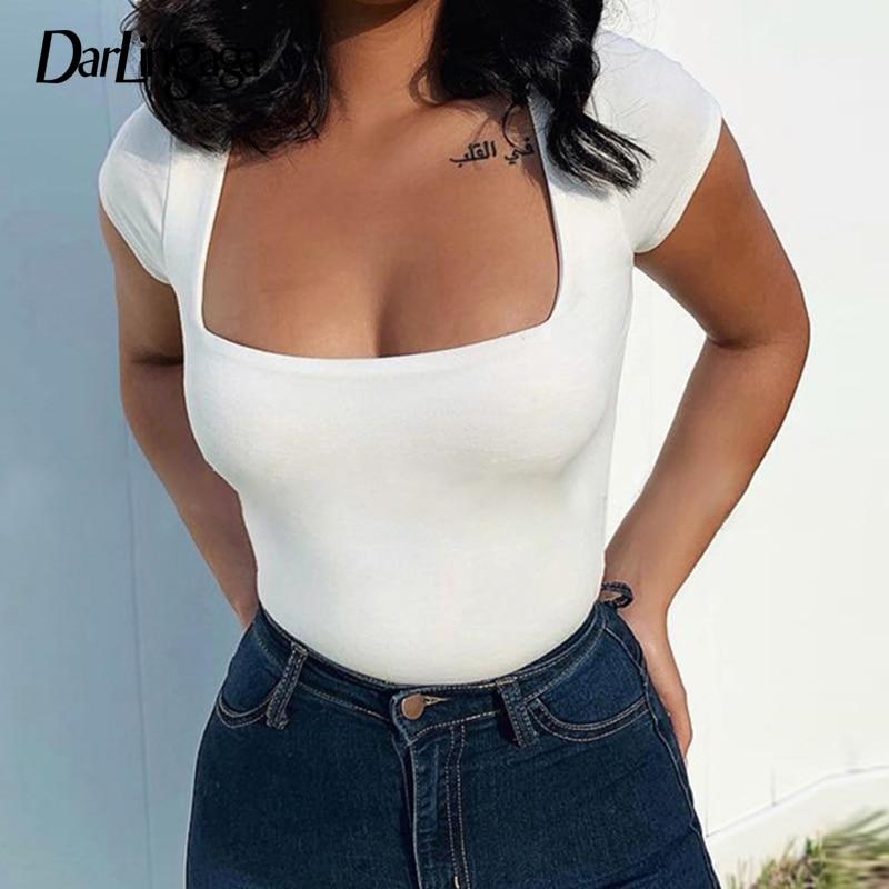 Darlingaga Casual Square Neck White Bodysuit Women Short Sleeve Sheer Bodies Basic Bodycon Summer Bodysuits Tops Body Suit 2020