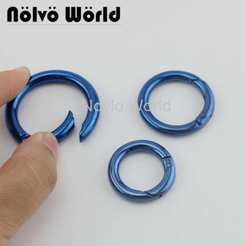 10-50pcs Blue Color 19mm 25mm 32mm Snap Spring Gate Ring For Making Purse Bag Handbag High Quality