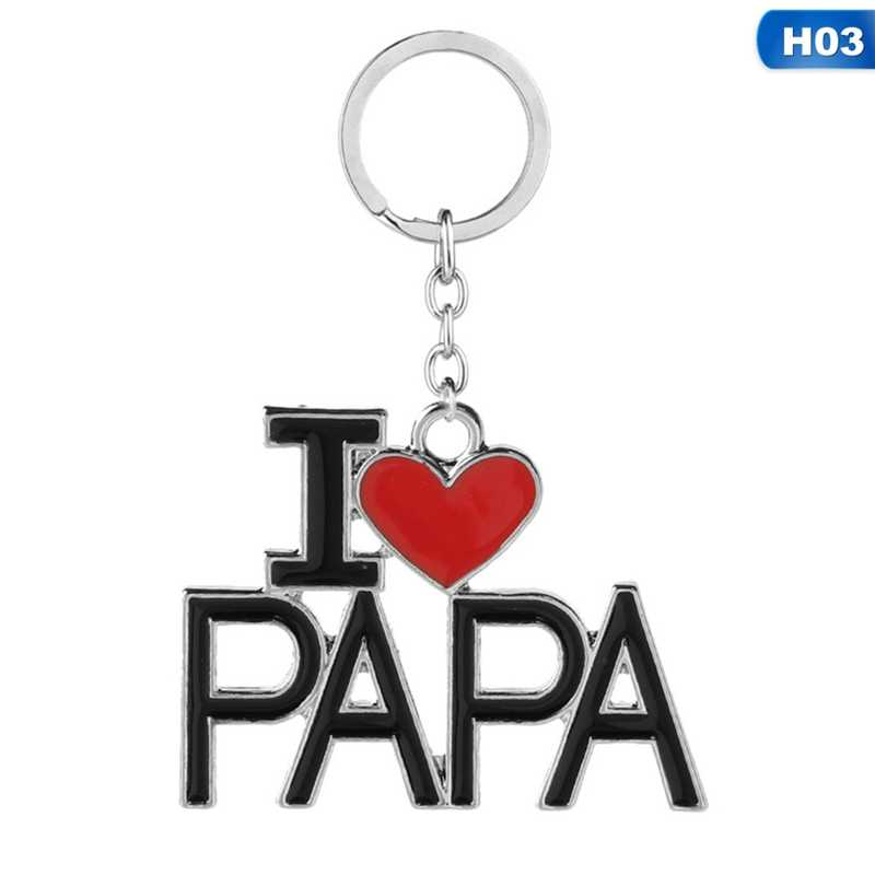 ครอบครัวโลหะจี้ Keychain I Love MAMA/แม่/พ่อ/PAPA Letter พวงกุญแจของที่ระลึกเครื่องประดับพวงกุญแจแม่ของขวัญวันพ่อ