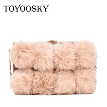 TOYOOSKY Winter Rabbit Fur Handbags Clutch Women Messenger Bags Plush Ball Box Bag Female Crossbody Shoulder Bags Square Purse цена