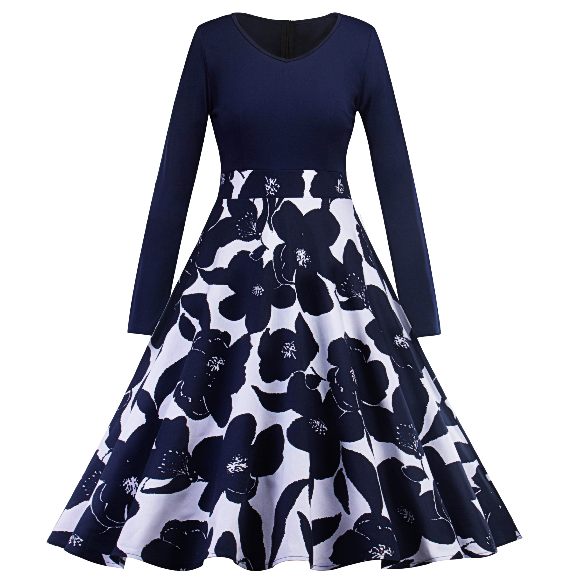 2020 Sexy V Neck Navy Blue Flower Elegant Women Cocktail Dress Elegant Long Sleeve Plus Size Women Dress Robe De Cocktail