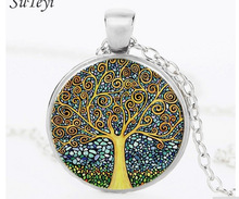 Retro Life Tree Time Jewelry Necklace Glass Pendant Sweater Chain DIY