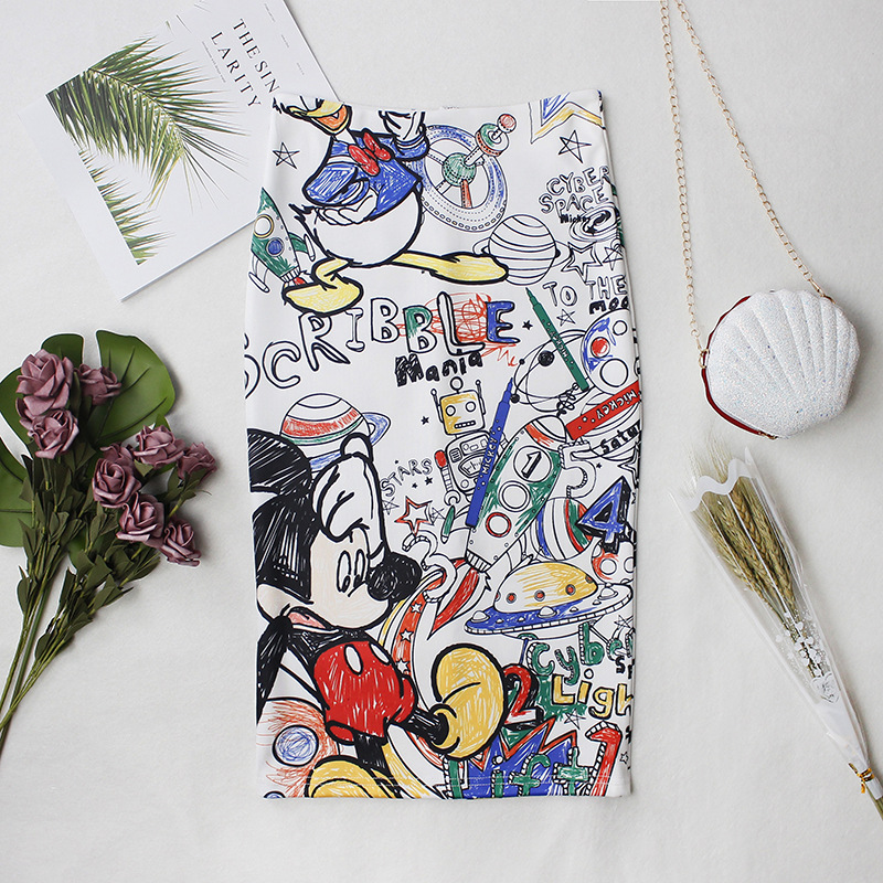 Women Sexy Autumn Summer Skirts Minnie Mickey Cartoon Slim Midi Skirts High Waist Package Hip Plus Size Club Streetwear Skirt