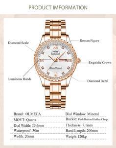 Image 4 - OLMECA Women Wrist Watch Fashion Auto Date Luxury Quartz Watches Relogio Feminino Watches 30M Waterproof Clock Lady Style