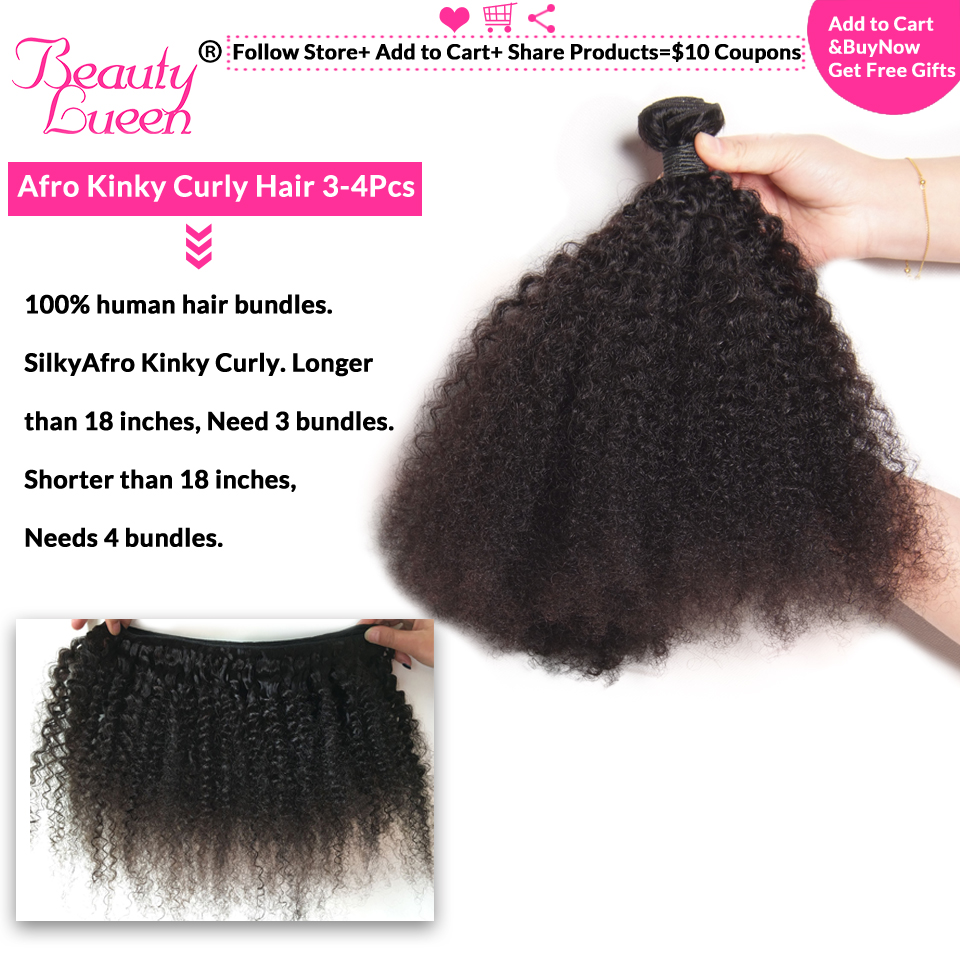 Afro crépus Culrly faisceaux prix de gros 5/6/8 faisceaux cheveux brésiliens armure faisceaux Remy Extensions de cheveux humains pour les distributeurs - 3