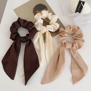 Luxury Satin Silk Bow Streamers Hair Ring Knotted Scrunchie Women Ponytail Hair Ties Solid Color Rubber Band Hair Accessories