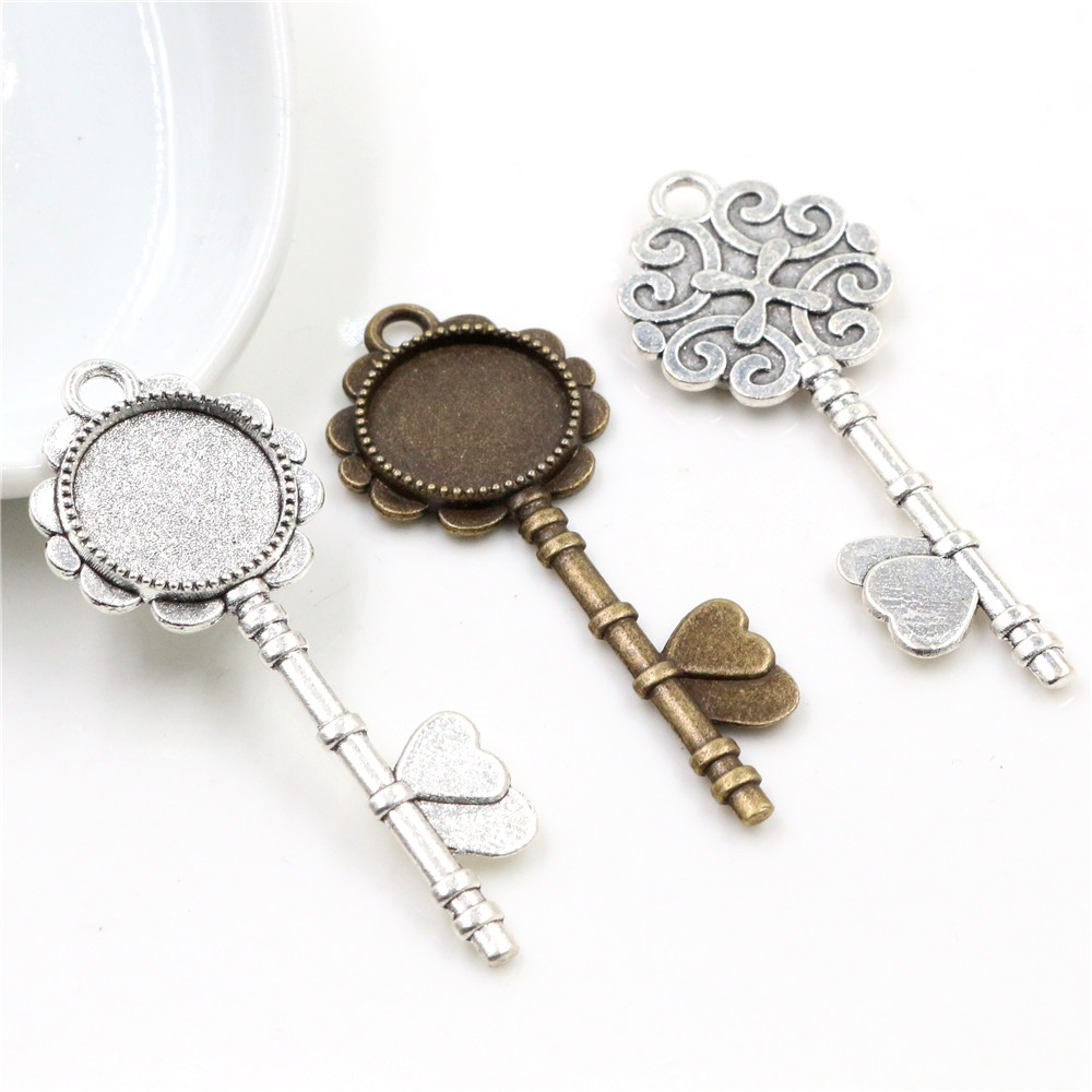 10pcs 14mm Inner Size Antique Bronze And Silver Plated Key Style Cabochon Base Cameo Setting Charms Pendant