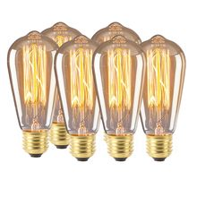 ST64 LED Bulb Decoration Retro Personality Bulb Transparent E26 E27 6PC(China)