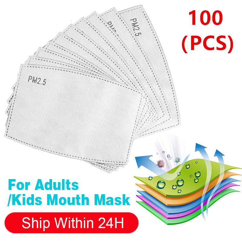 100PCS Aults/Kits PM2.5 Mask Filters Paper 5 Layers Replacement Anti Dust Anti Pollution Face Mouth Mask Unisex Filter Masks