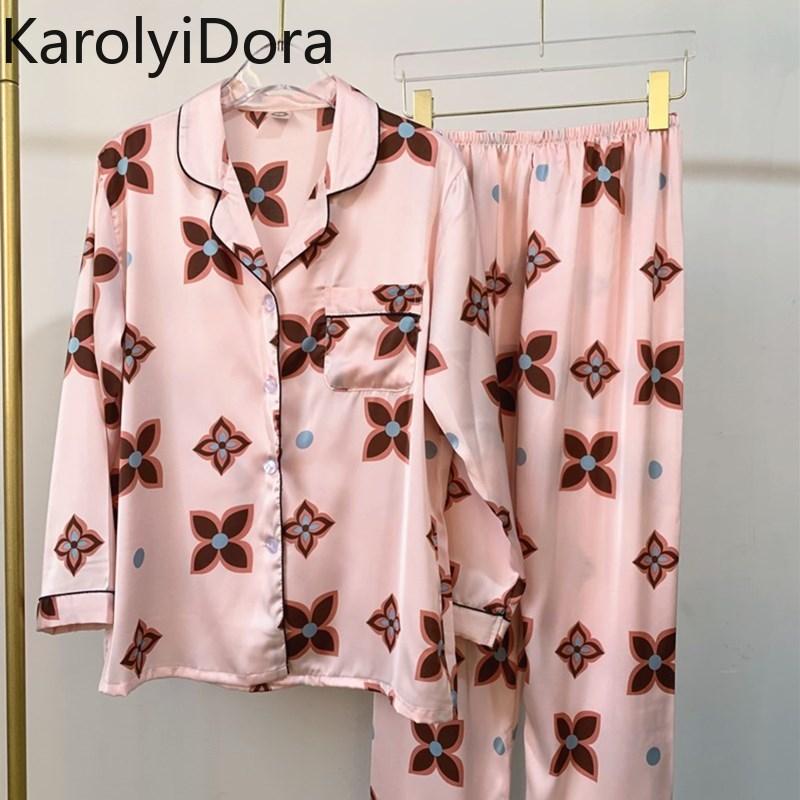 2020 été nouveau pyjamas femmes printemps soie mince Section été à manches longues en vrac Simulation soie deux pièces costume Service à domicile