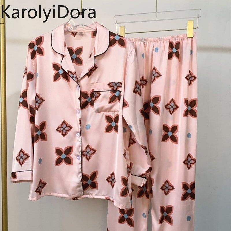 2020 verão novo pijama feminino primavera seda seção fina verão de mangas compridas solto simulação de seda de duas peças terno serviço de casa