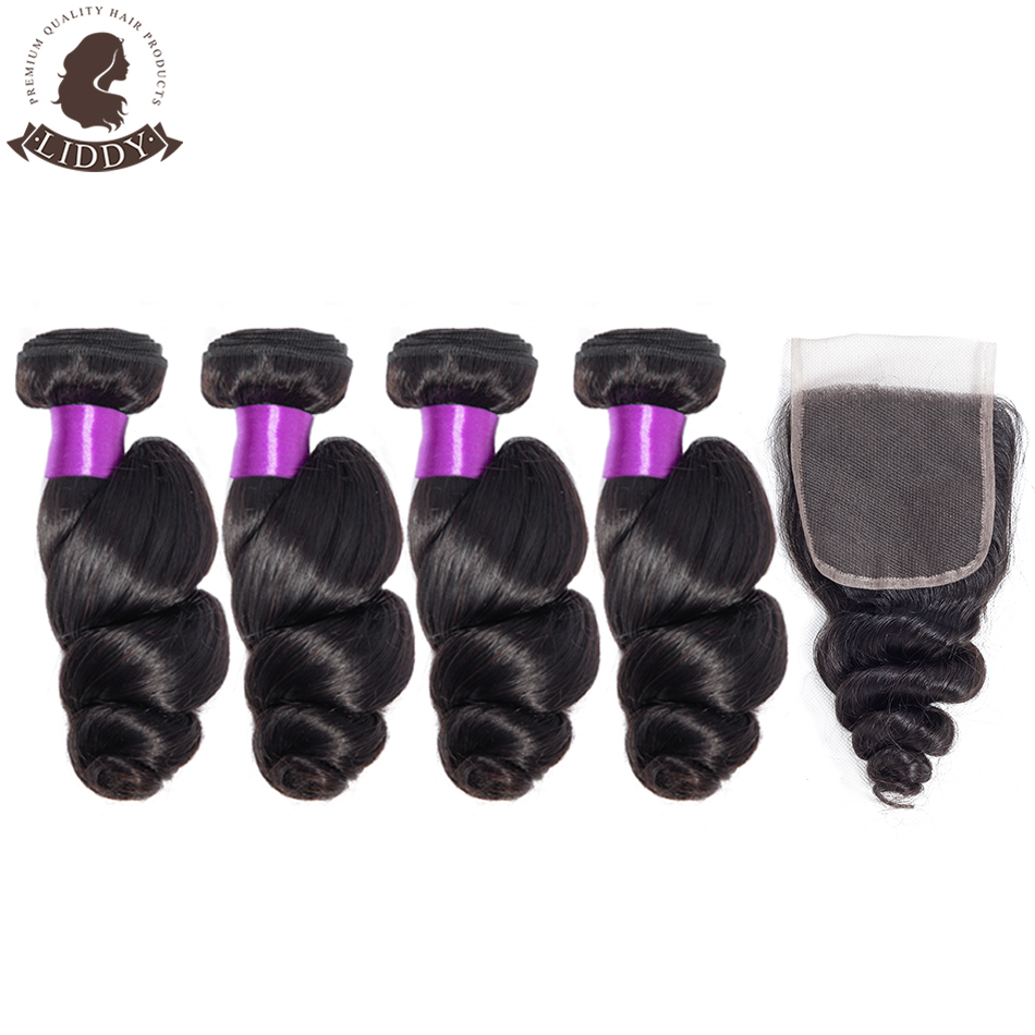 Liddy Hair 4 Bundles Brazilian Hair With Closure 100% Non Remy Loose Wave Human Hair With 4*4 Lace Closure