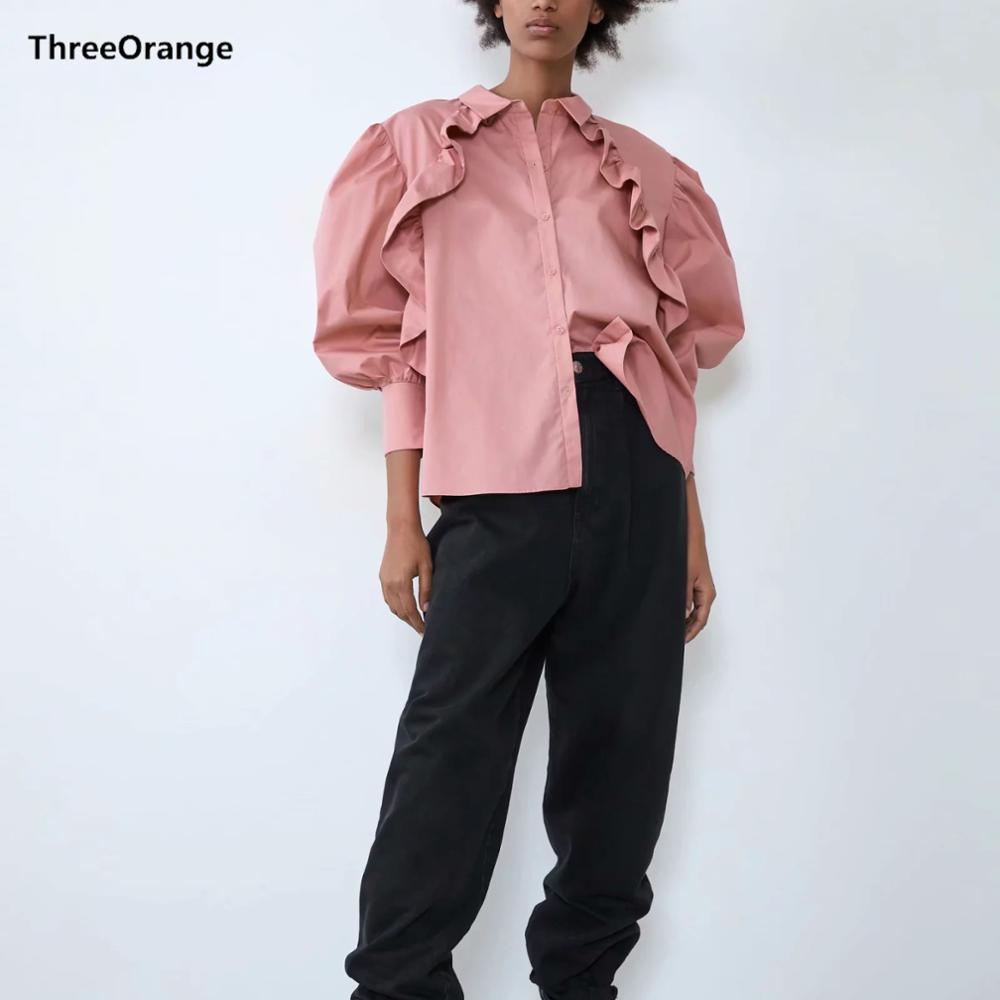 ZA New Autumn Winter Women's Shirt Pink Poplin Ruffles Tops Lantern Sleeve Blouse Ladylike Casual Vintage Female Clothes