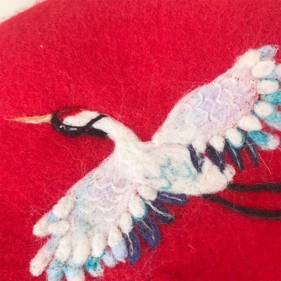 Originele Ontwerp Handgemaakte Baretten voor Dames Vrouwen Winter Warm Hoeden Rode Wolvilt Gunstige Kraan Baretten Platte Kerstcadeau - 5