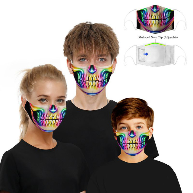 Cotton PM2.5 Mouth Mask Filter Mask 3D Print Funny Cosplayer Big Mouth Series Skull Face Mask Washable Reusable  Protective Mask 2
