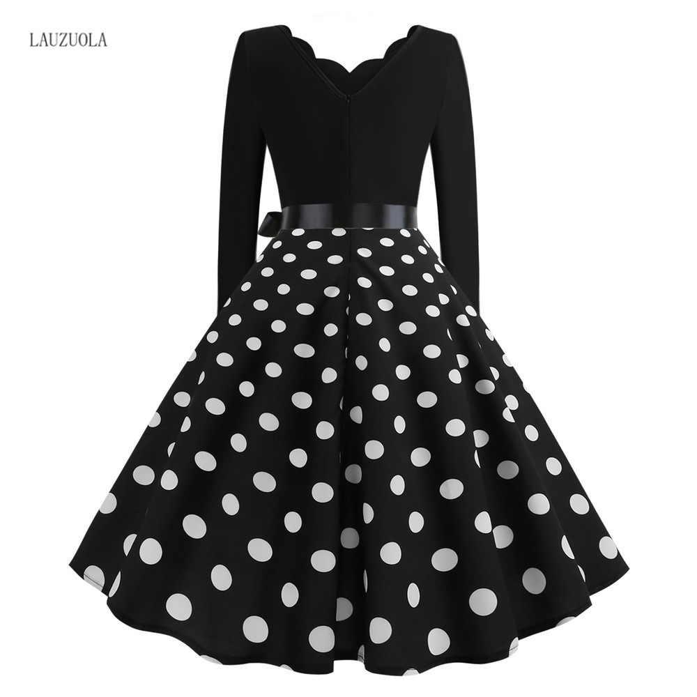 Lauzuola robe femme hiver feminino dot print primavera inverno vestidos de manga longa festa vintage pin up rockabilly vestido plus size 3xl