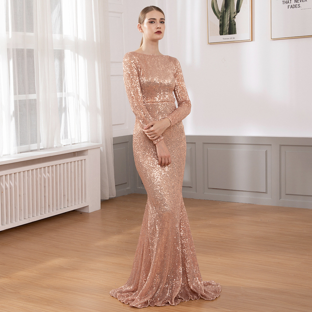 O Neck Sequined Party Dress Maxi Dresses Floor Length Elegant Champagne Gold Sequin Dress Gown Autumn Winter 2019
