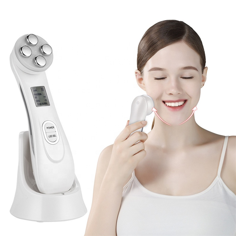 LED Light Skin Tightening RF EMS Face Photon Beauty Instrument EMS RF Facial Wrinkle Mask Therapy Rejuvenation Lifting Device