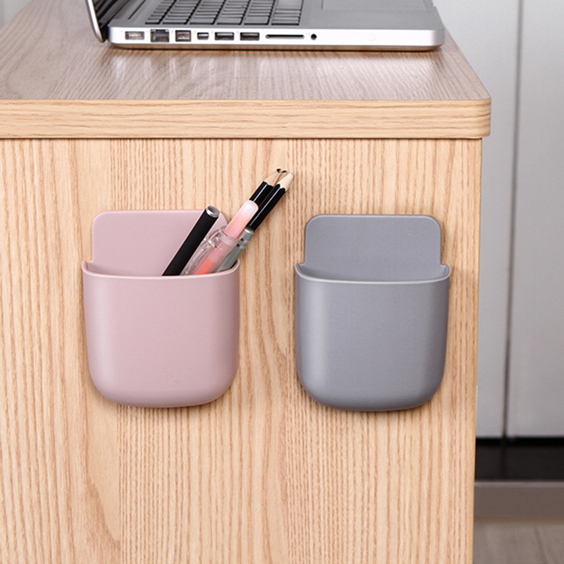 1pcs Wall Mounted Organizer Storage Box Remote Control Air Conditioner Storage Case Mobile Phone Plug Holder Stand Container