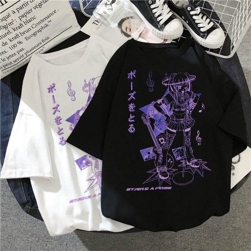 Harajuku музыка принт для девочек; Черный укороченный топ женские футболки в готическом стиле, хлопковый топ с коротким рукавом, футболка женск...