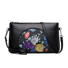 Woman Messenger Bags Black PU Leather Floral Girl mini Crossbody Bag Chains Soft Shoulder Mini Wallet bag Evening