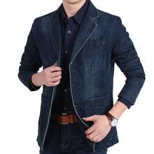4XL Mens Denim Blazer Men Fashion Cotton Vintage Suit Outerwear Male Blue Coat Denim Jacket Men Slim Fit Jeans Blazers MY161